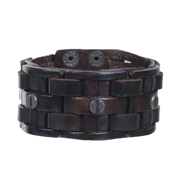 Sexy Sparkle Mens Genuine Real Leather Wrist Bracelet Wide Casual Wristband Cuff Bangle Adjustable