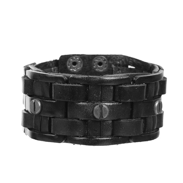 Sexy Sparkle Mens Genuine Real Leather Wrist Bracelet Wide Casual Wristband Cuff Bangle Adjustable - Sexy Sparkles Fashion Jewelry - 1