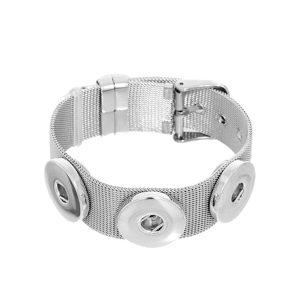 "8 3/8"" Stainless Steel Adjustable Snap Button Bangles Bracelets Fit 18mm/20mm Snap Buttons - Sexy Sparkles Fashion Jewelry"