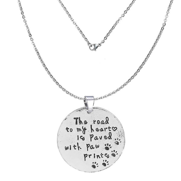 """The road to my heart is paved with paw printes""Memorial Necklace & Pendant for Your Lost ones Memorial Sympathy Gift - Sexy Sparkles Fashion Jewelry"