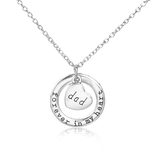 "Sexy Sparkles "" Forever In My Heart "" and "" Dad "" Mother's Day Family Jewelry Necklace"