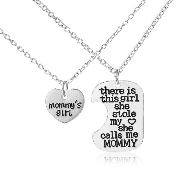 "SEXY SPARKLES 2 piece necklace ""Mommy's Girl""and ""There is this Girl she Stole My Heart She calls me Mommy"" 2 Pc Jewelry Necklace"