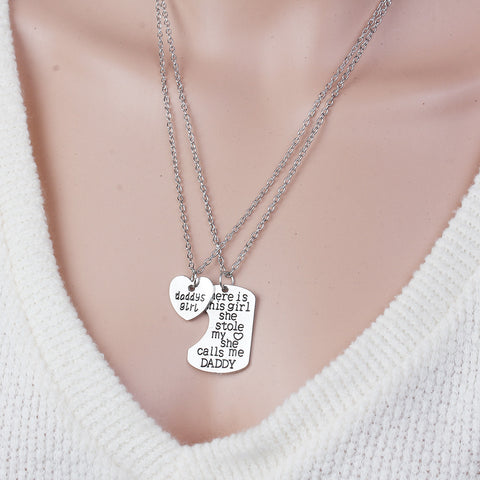 "SEXY SPARKLES 2 piece necklace ""Daddy's Girl""and ""There is this girl she stole my heart she calls me Daddy"" 2 Pc Jewelry Necklace"