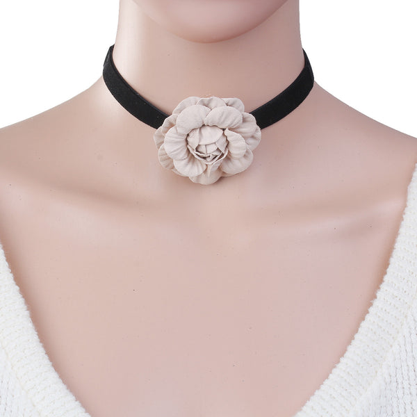 Sexy Sparkles New Style Black Choker Necklace with Peachy Beige Flower