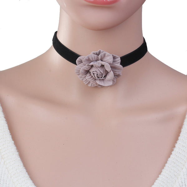 Sexy Sparkles New Style Black Choker Necklace with Mauve Flower