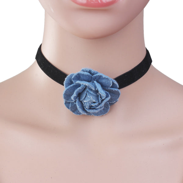 Sexy Sparkles New Style Black Choker Necklace with  Blue Flower