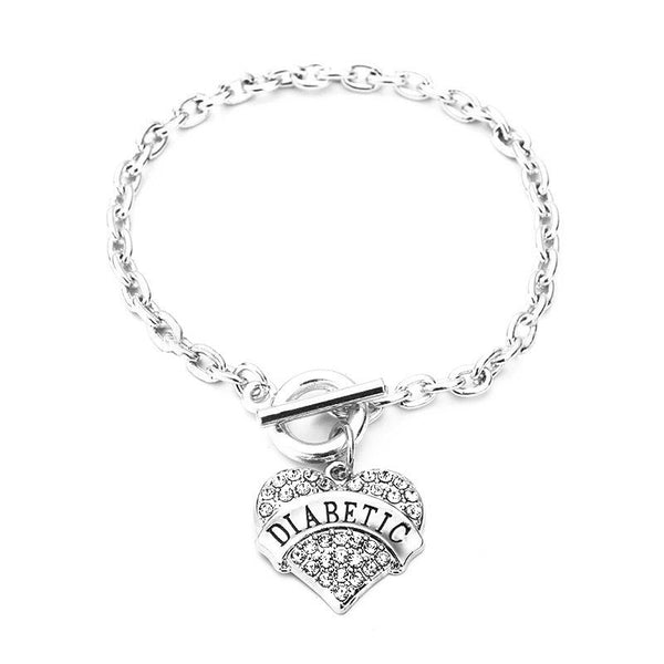 SEXY SPARKLES DIABETIC Awareness Alert Charm Womens Bracelet,8 7/8 Inches