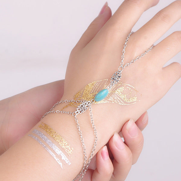 Sexy Sparkles Retro Bracelet Finger Ring Bangle Slave Chain