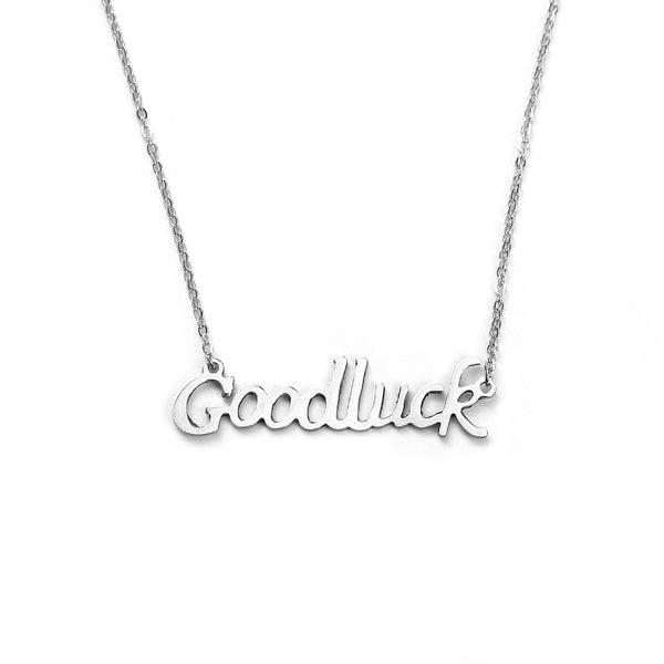 "Sexy Sparkles stainless steel womens jewelry "" Goodluck"" Necklace pendant for women girls small elegant design"