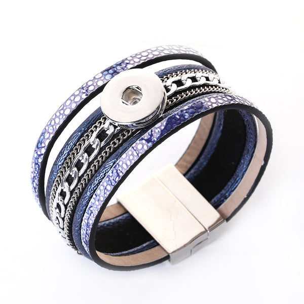 Sexy Sparkles Deep Blue Snap Button Jewelry Bangle Multilayer Bracelet fits 18mm/20mm Snap Buttons