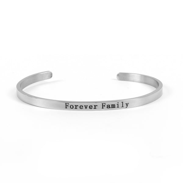 "SEXY SPARKLES Stainless Steel "" Forever Family "" Positive Quotes Energy Open Cuff Bangle Bracelet"