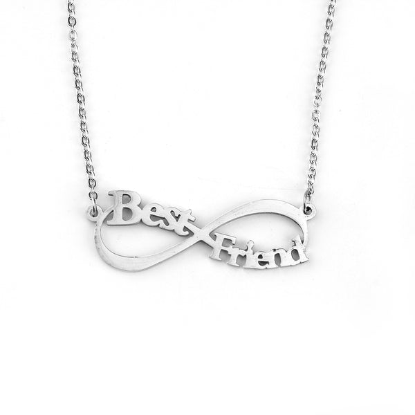 Best Friends Infinity Necklace Stainless Steel Silver Tone