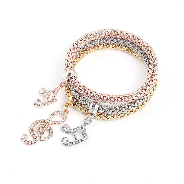 Musical Note Stretch Bracelets I's 3PCS Gold/Silver/Rose Gold Plated Popcorn Chain with Crystal Charms Multilayer Bracelets for Women