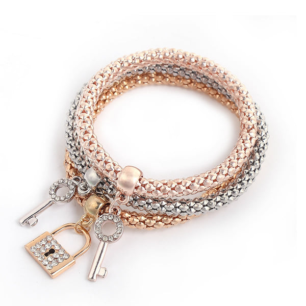 Sexy Sparkles Lock & Key stretch Bracelets 3PCS Gold/Silver/Rose Gold Plated Popcorn Chain with Crystal Charms Multilayer Bracelets for Women