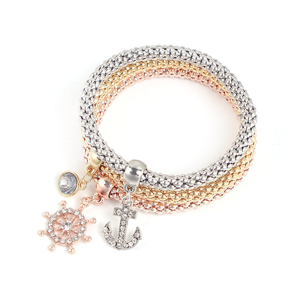 Anchor ship Stretch Bracelets I's 3PCS Gold/Silver/Rose Gold Plated Popcorn Chain with Crystal Charms Multilayer Bracelets for Women