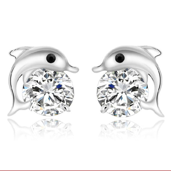 Sexy Sparkles Dolphin Ear Post Stud Earrings Cubic Zirconia women girls jewelry