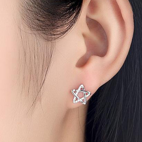 SEXY SPARKLES Pentagram Star Ear Post Stud Women Girls Earrings Silver Tone with Clear Cubic Zirconia