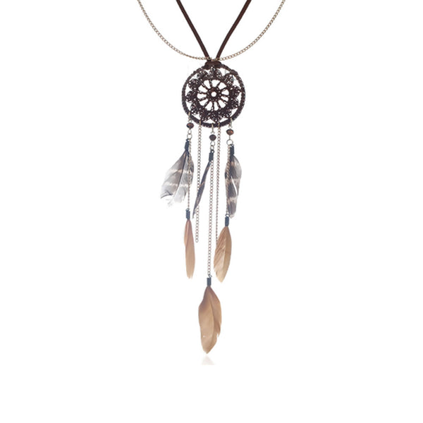 Sexy Sparkles Dream Catcher Multilayer Layaret Necklace whit Brown Feather