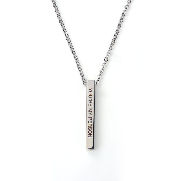"You're My Person Bar Necklace Engraved Inspirational Word for Women, Stainless Steel Vertical Personalized Necklace with 24""+2"" Chain Extension"