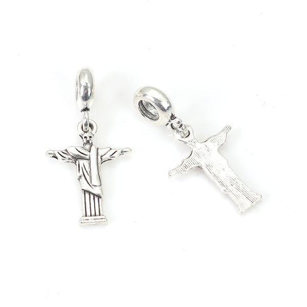 Jesus Cross Charm Fits Pandora Bracelets & Compatible with Most Major Brands such as Chamilia, Murano, Troll, Biagi and other European Bracelets