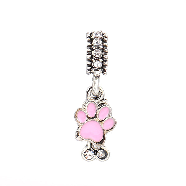 Dog paw Bone Charm European Compatible fits Snake Chain Charm Bracelets