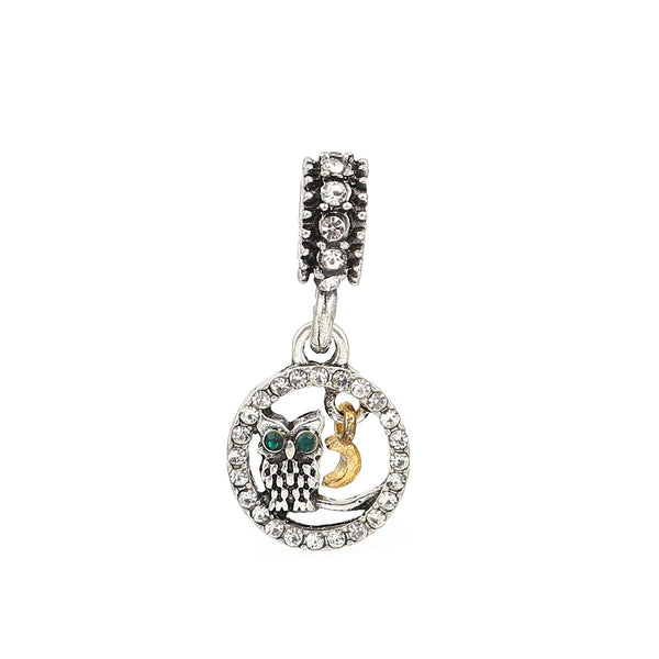 Owl with Dangling Moon Charm Compatible with Most Major European Brand Bracelets