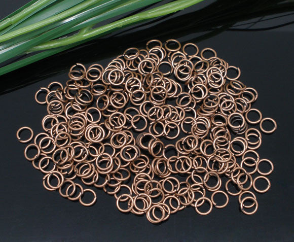 1000 Pcs Copper Tone Open Jump Rings Findings 0.9x6mm - Sexy Sparkles Fashion Jewelry - 1