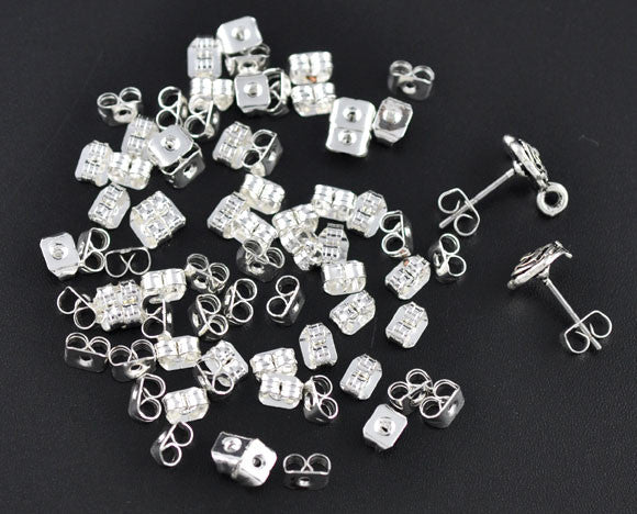 20 Pcs Silver Plated Earnut Clutch Earring 5mm - Sexy Sparkles Fashion Jewelry - 1