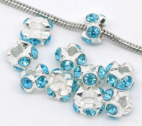 Silver Plated Light Blue Rhinestone Spacer Beads Fit European Bracelet - Sexy Sparkles Fashion Jewelry - 3