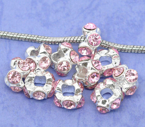 Silver Plated Pink Rhinestone Spacer Beads Fit European Bracelet - Sexy Sparkles Fashion Jewelry - 3
