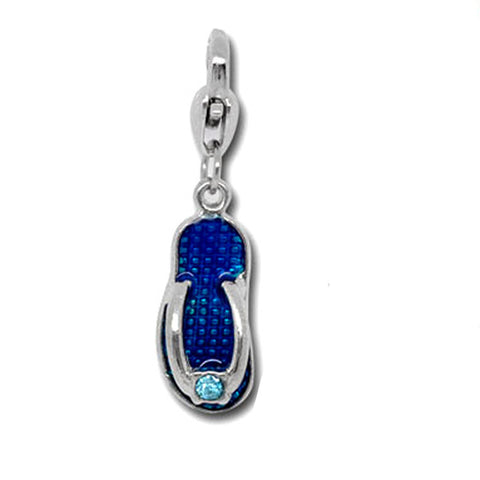Clip on Blue Flip Flop Shoe Pendant for European Jewelry w/ Lobster Clasp - Sexy Sparkles Fashion Jewelry - 1