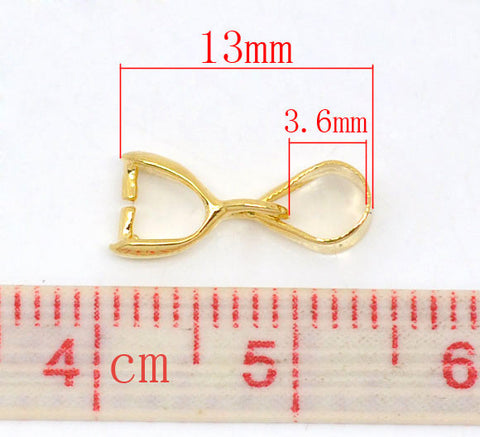 10 Pcs Gold Plated Pinch Clip Bail Beads Findings 13mm - Sexy Sparkles Fashion Jewelry - 3