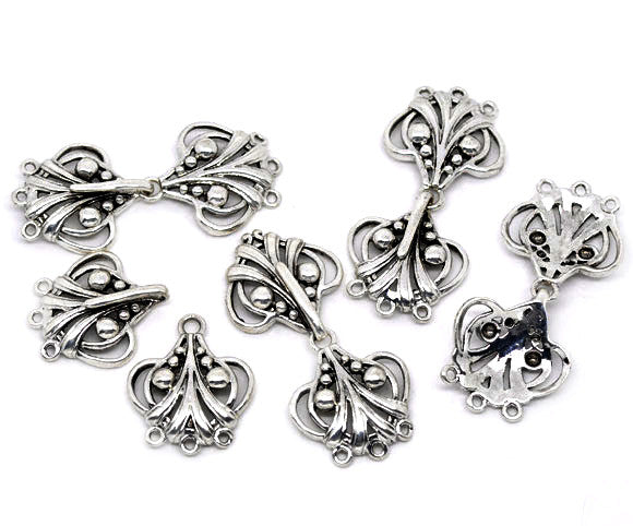 Set of Antiqued Silver Tone Heart Charm Hook Sweater Clasps 46mm(2pcs) - Sexy Sparkles Fashion Jewelry - 1
