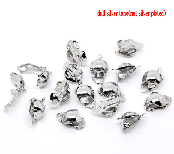 10 Pcs Silver Tone Earring Clip on Ball Findings 20mm X 12mm - Sexy Sparkles Fashion Jewelry - 1