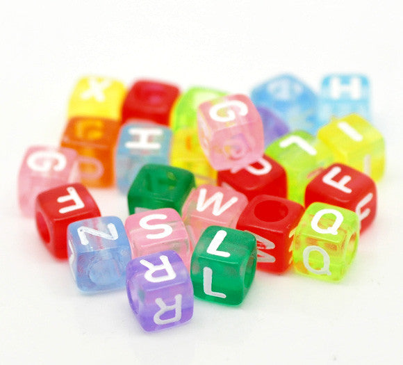 Sexy Sparkles Multi color Alphabet Letters Acrylic Cube Beads Pack of 500pcs - Sexy Sparkles Fashion Jewelry - 1
