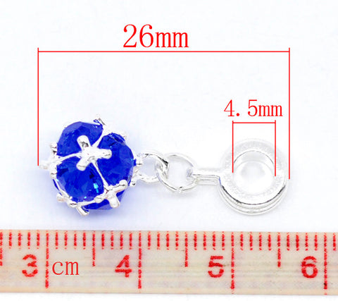 September Birthstone Dangle Charm Pendant Clip on charm with lobster clasp