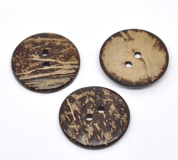 4 Pcs, Round 2 Holes Coconut Shell Buttons 38mm - Sexy Sparkles Fashion Jewelry - 1