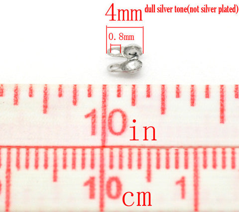 1000 Pcs Silver Tone Calottes End Crimps Beads Tips 4mm X 3.5mm - Sexy Sparkles Fashion Jewelry - 2
