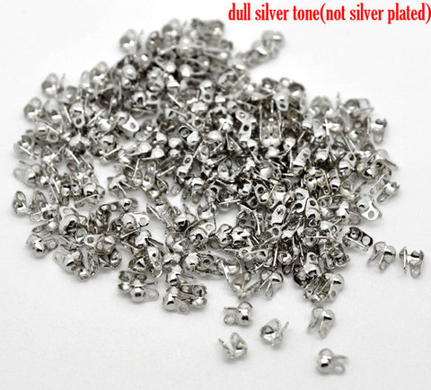 1000 Pcs Silver Tone Calottes End Crimps Beads Tips 4mm X 3.5mm - Sexy Sparkles Fashion Jewelry - 3