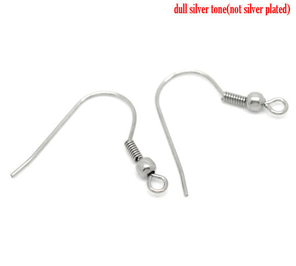 20 Pcs Stainless Steel Earring Wire Hooks Silver Tone 23mm X 22mm - Sexy Sparkles Fashion Jewelry - 1