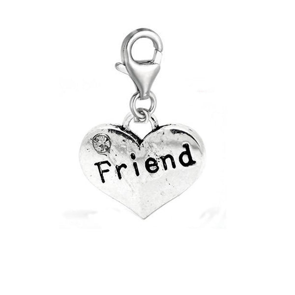 Clip on Friend on Heart Dangle Charm Pendant for European Jewelry w/ Lobster Clasp