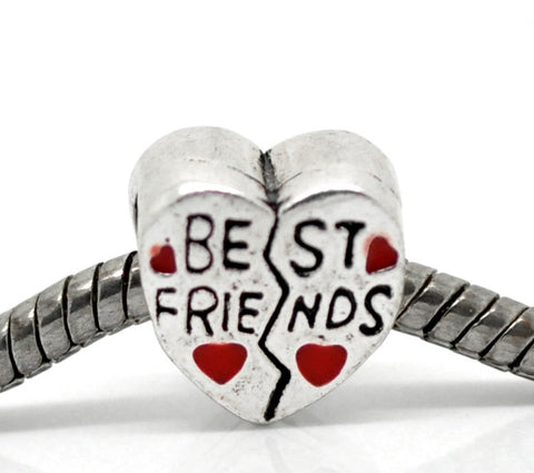 """Best Friends""Charm Heart European Bead Compatible for Most European Snake Chain Bracelet - Sexy Sparkles Fashion Jewelry - 3"
