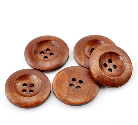 50 PCs 1 Inch Buttons 25mm Sewing Flatback Button Brown Wood Sewing Buttons Scrapbooking 4 Holes Round