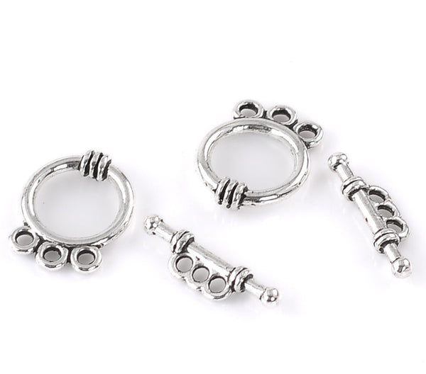 2 Sets of 2 Toggle Clasps Round Antique Silver(4pcs ) - Sexy Sparkles Fashion Jewelry - 1