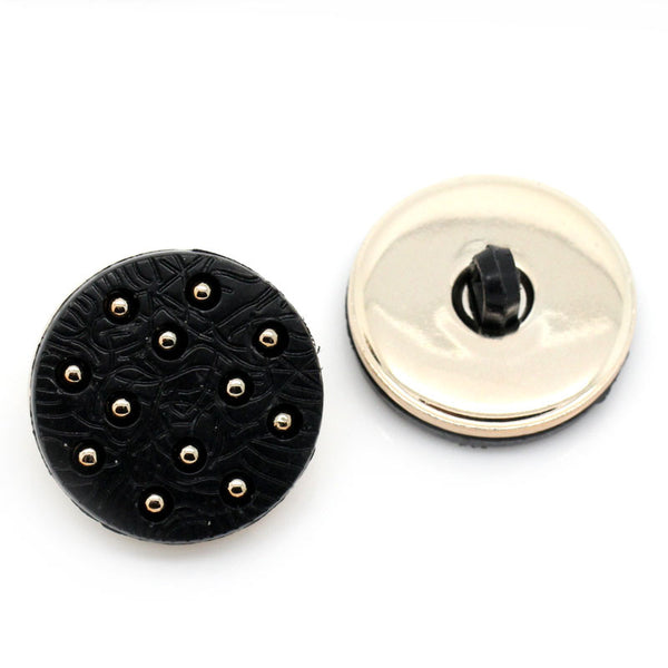 Sexy Sparkles 10 Pcs CCB Round Shank Black Buttons with Light Golden Polka Dot