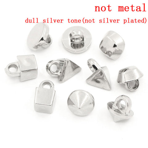 Sexy Sparkles 10 Pcs Acrylic Buttons Sewing Craft Mixed Shapes Silver Tone 9mm x 9mm - 12mm x 8.5 mm