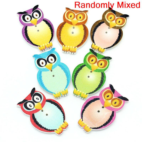 Sexy Sparkles 10 Pcs Wonderfully Multicolor Wood Owl Shape Buttons