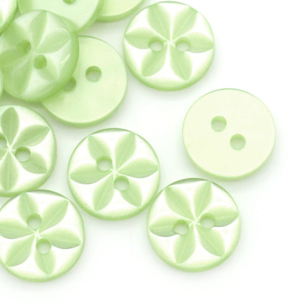 Sexy Sparkles 10 Pcs Resin Green Round Buttons Flower Pattern 11mm