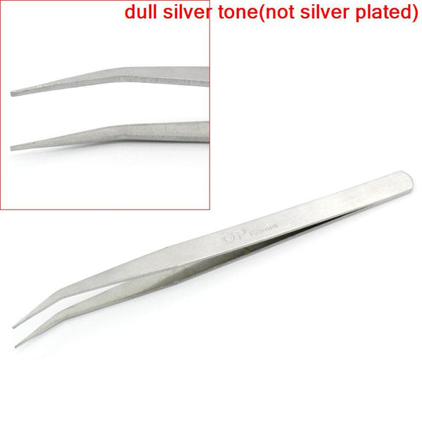 "Sexy Sparkles One Bent Curved Pointed Tweezers Repair Tools Silver Tone ""Dp"" Carved 155mm"