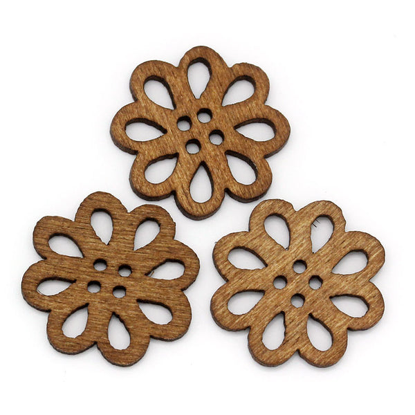 Sexy Sparkles 10 Pcs Flower Shaped Coffee Wood Buttons 20mm